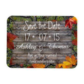 Save the Date Camo Rustic Wood Fall Leaves Wedding Magnet