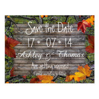 Save the Date Camo Rustic Wood Fall Leaves Wedding Postcard