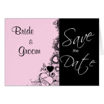 save the date, wedding, married, engaged, engagement, bride, groom, announcement, announce, love, heart, hearts, pink, black, formal, flourish, greeting, card, note, cards, weddings, engagements, Card with custom graphic design