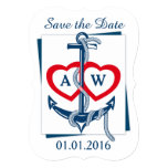 Save the Date card Anchor Nautical blue red