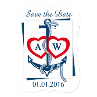 """Save the Date card Anchor Nautical blue red 5"""" X 7"""" Invitation Card"""