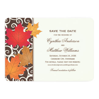 Save the Date Card | Autumn Leaves Theme Announcement