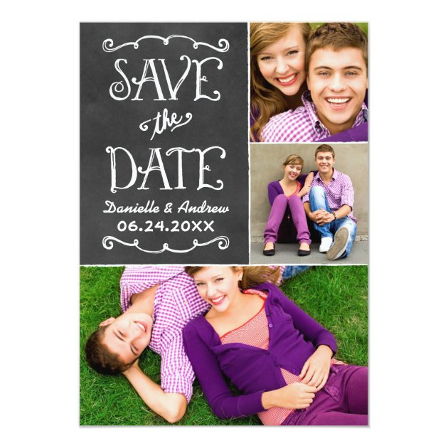 Save the Date Card | Black Chalkboard Charm | Zazzle
