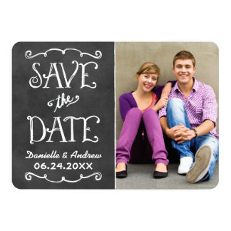 "Save the Date Card | Black Chalkboard Charm 5"" X 7"" Invitation Card"