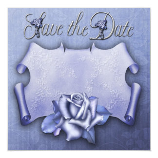Save the Date card. Blue Rose Card