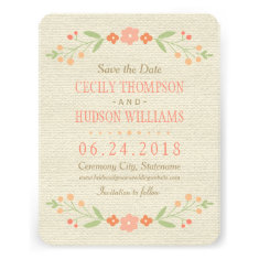 Save the Date Card | Country Florals Pink Custom Announcements