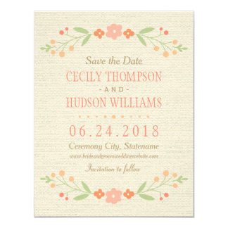 Save the Date Card | Country Florals Pink
