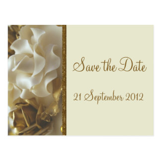 Save the Date Card Gold & Ivory Wedding Cake Roses Post Card
