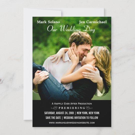 save the date card movie poster design zazzlecom
