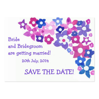'Save the Date' Card, Pink and Blue Flowers Large Business Cards (Pack Of 100)