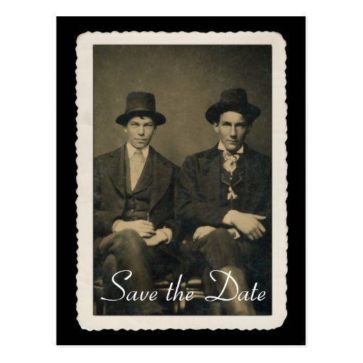 Save the Date card with vintage portrait. Post Card
