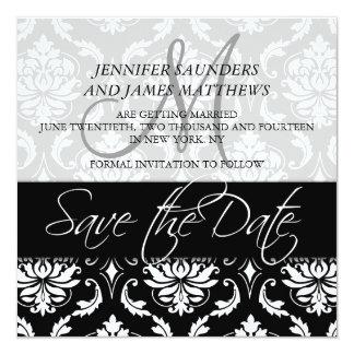 Save the Date Cards Black Damask Monogram Names Custom Invite