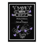 Save The Date Cards Chalkboard Purple Butterflies