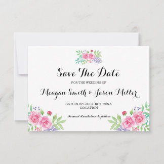 Save The Date Cards Floral Watercolour Rose Invite