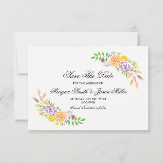 Save The Date Cards Floral Wedding Peach Party