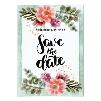 Save the Date Cards Vintage Floral Watercolour