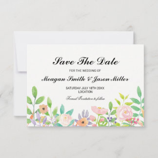 Save The Date Cards Watercolour Floral Wedding