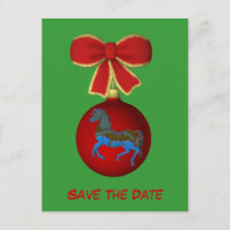 Save The Date Carousel Horse Holiday Postcard