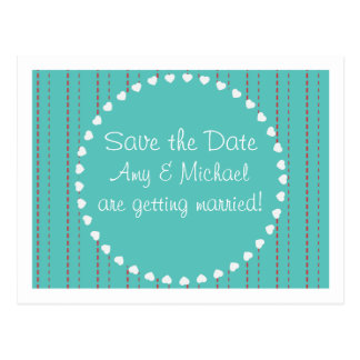 Save the Date - Casual hearts and stripes Postcard