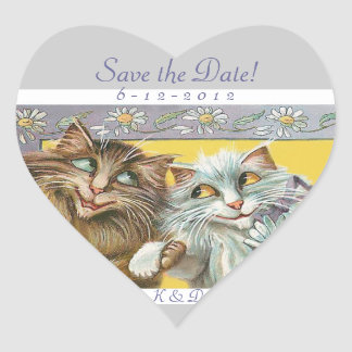 Save the Date Cats in Love Wedding Heart Sticker