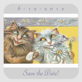 Save the Date Cats in Love Wedding Square Sticker