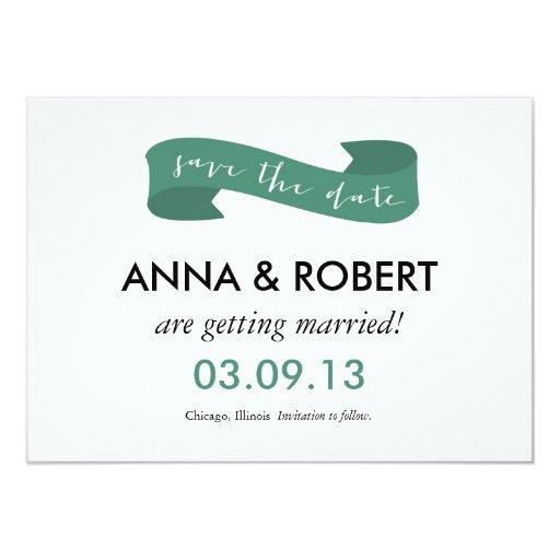 Save the Date Celebration Banner: Emerald 4.5x6.25 Paper Invitation Card