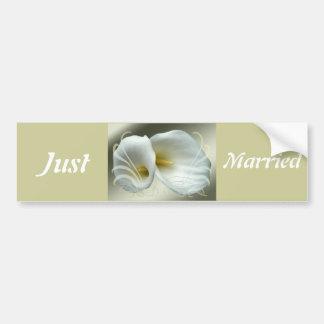 Save the date celebration white lilies design car bumper sticker