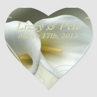 Save the date celebration white lilies design heart sticker