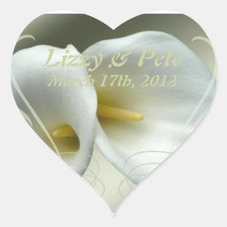 Save the date celebration white lilies design heart sticker