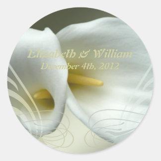 Save the date celebration white lilies design classic round sticker