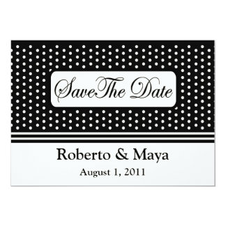 Save The Date Centered With Dots & Stripes Card