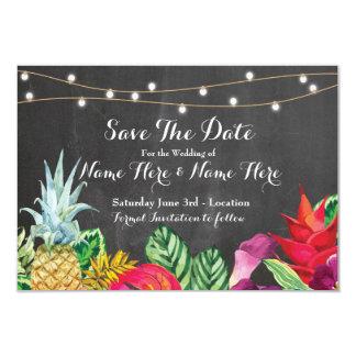 Save The Date Chalk Rustic Aloha Tropical Lights Card