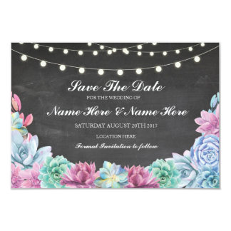 Save The Date Chalk Rustic Succulents Lights Card