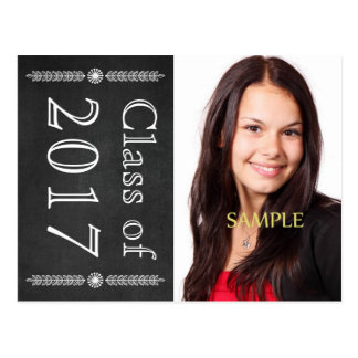 Save the Date Chalkboard Graduation Postcard