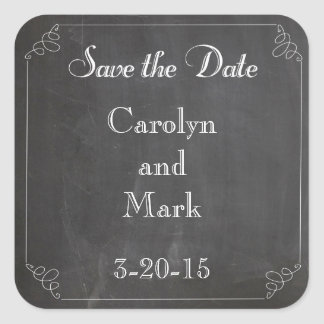 Save the Date, Chalkboard Style Vintage Wedding Square Sticker