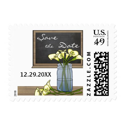 Save The Date Chalkboard With Flowers in Mason Jar Stamps