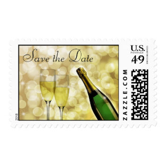 Save the Date Champagne Toast Postage Stamp