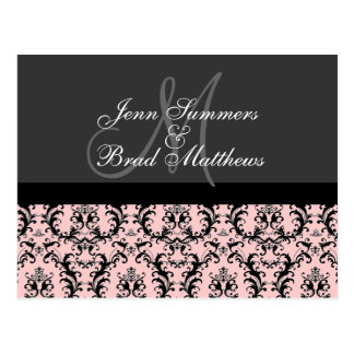 Save the Date Charcoal Pink Damask Monogram Card Postcard