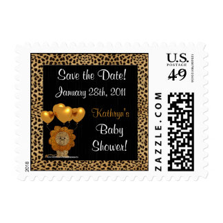 Save the Date Cheetah Baby Shower Postage