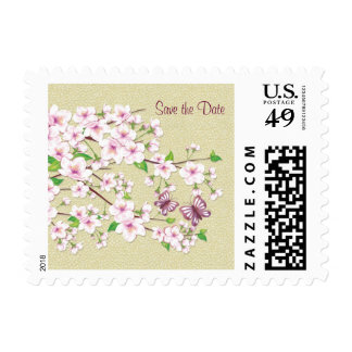 Save the date, Cherry blossom and butterfly Stamp