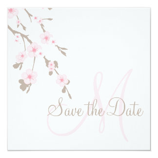 Save the Date Cherry Blossoms with Monogram Custom Invites