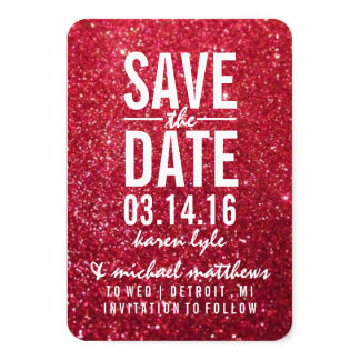 "Save the Date | Cherry Glitter Fab 3.5"" X 5"" Invitation Card"