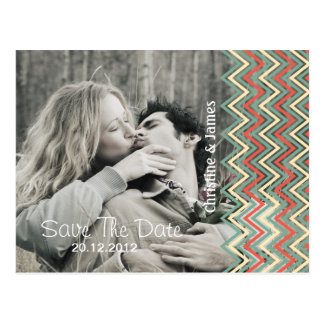 Save the date, chevron with your photo postcard