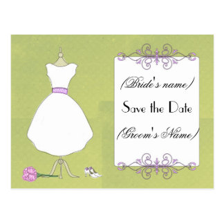 Save the Date-Chic Bridal Dress Postcard