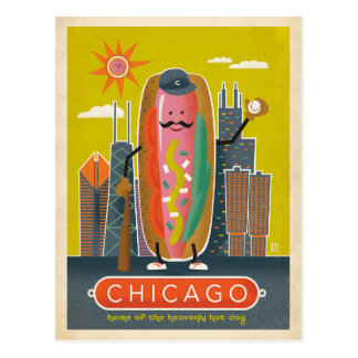 Save the Date | Chicago, IL - Hot Dog Postcard