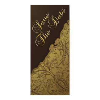Save The Date - Chocolate & Gold Vintage Card