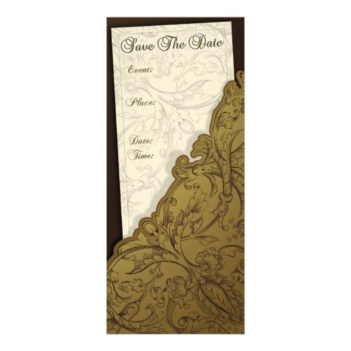 Save The Date - Chocolate & Gold Vintage Invites