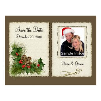 Save the Date - Christmas Photo Postcard