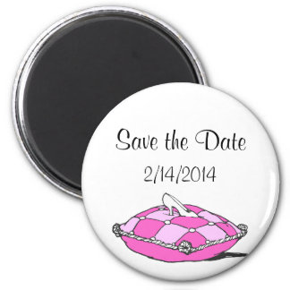 Save the Date Cinderella Slipper Pink Pillow Magnet