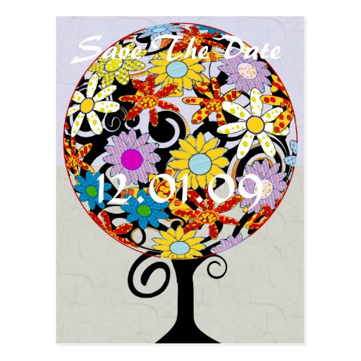 Save The Date - Circle of Love Tree Postcard